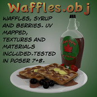 waffles syrup berries 3d obj