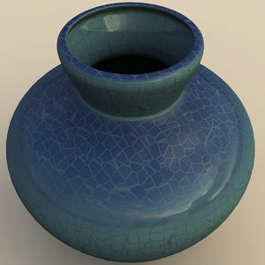 free vase turquoise 3d model