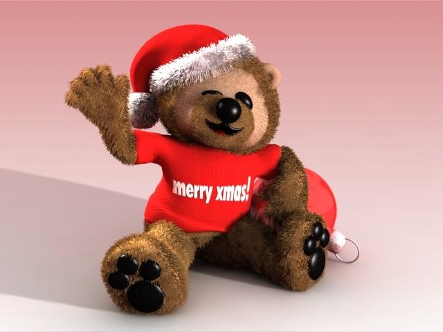 christmas teddy bear 3d model