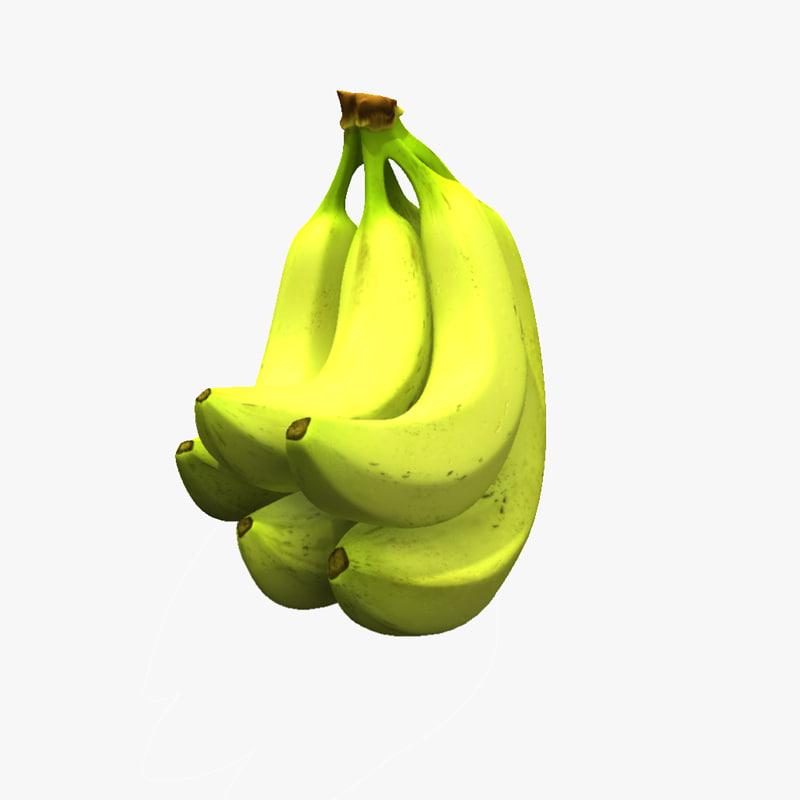 3d bunch bananas model