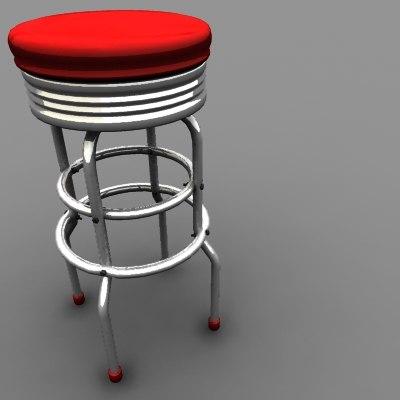 retro bar stool obj