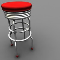retro bar stool obj
