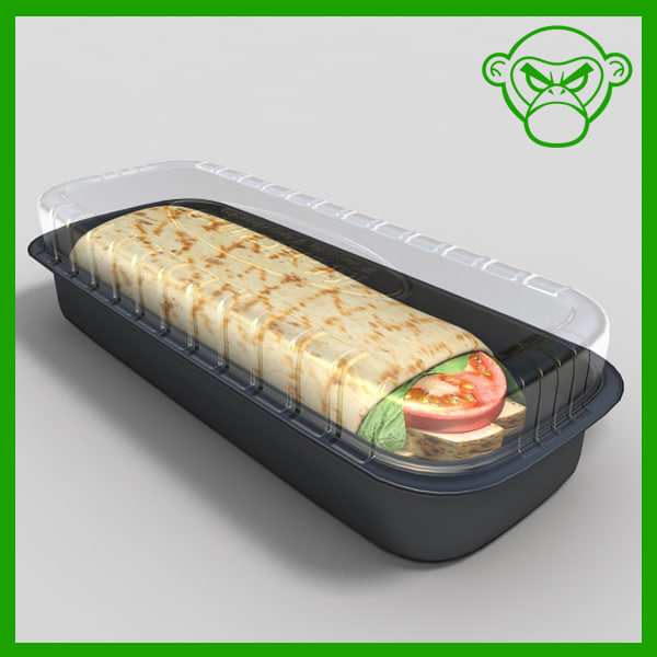 3d model grilled chicken wrap