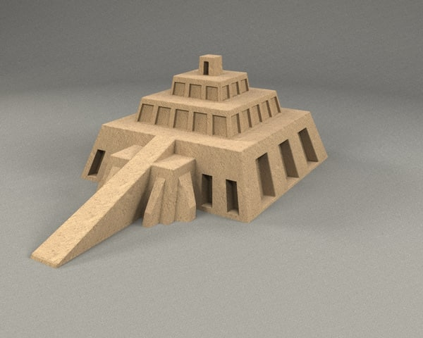 ziggurat pyramide 3d model