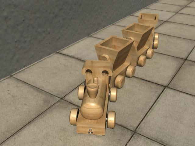 toy train wooden wood 3d 3ds
