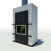 modern fireplace 3d x