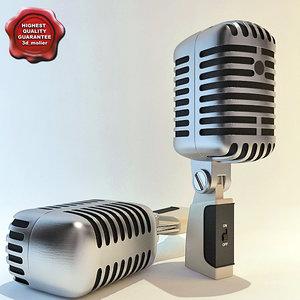 retro microphone 3d 3ds
