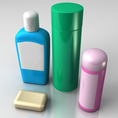 free shampoo hairspray deodorant 3d model