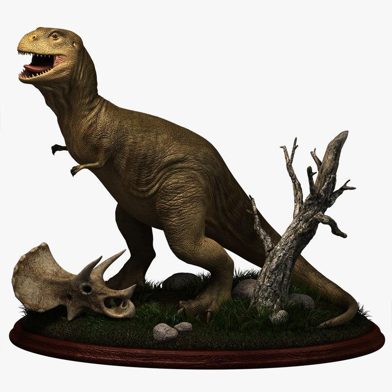retro tyrannosaurus dinosaurs t-rex 3d model