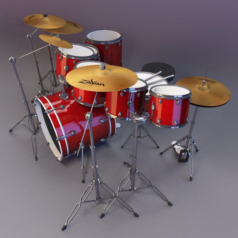 3d drum set drumset model