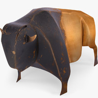 statuette souvenir copper buffalo 3d model