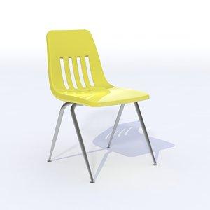 classroom chair plastic 3d obj