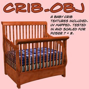 baby crib 3d obj