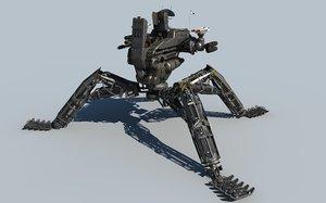 cinema4d anti aircraft mech