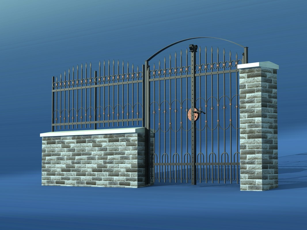 3d max wrought gate fence