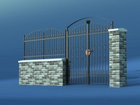 wrought gate fence 3d model