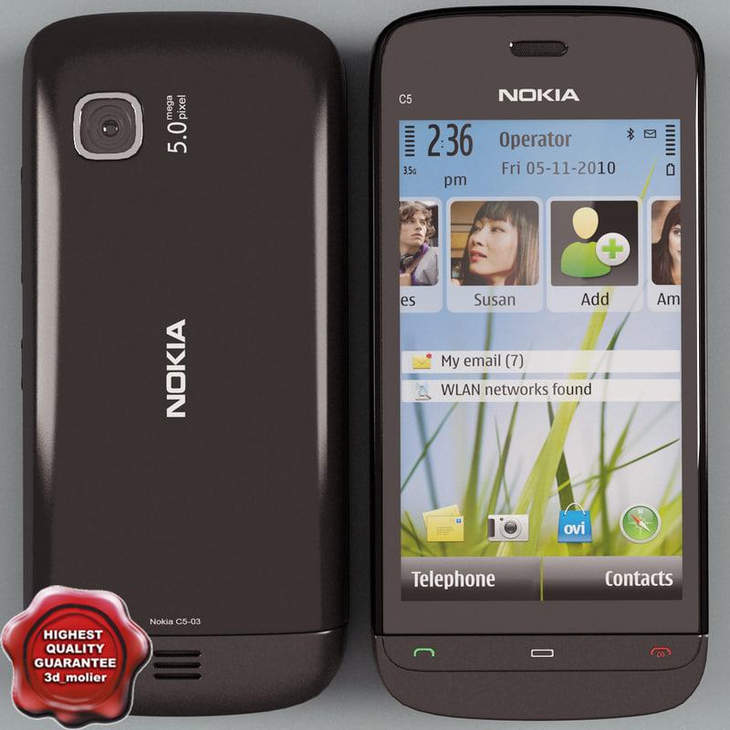 3d nokia c5-03 black