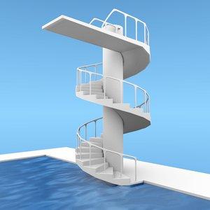 3d swimming pool diving platform