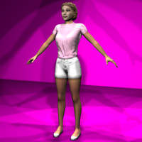 female casual character 3d x