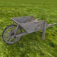 wooden wheelbarrow 3d model