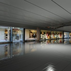 3d model of airport interior store