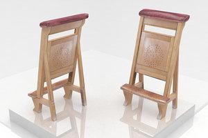 3d model church chair
