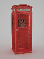 3d british telephone box - model