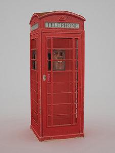 3d british telephone box - model