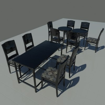 3d dark wood tables chairs