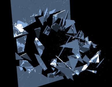 3d model breaking window glass hard