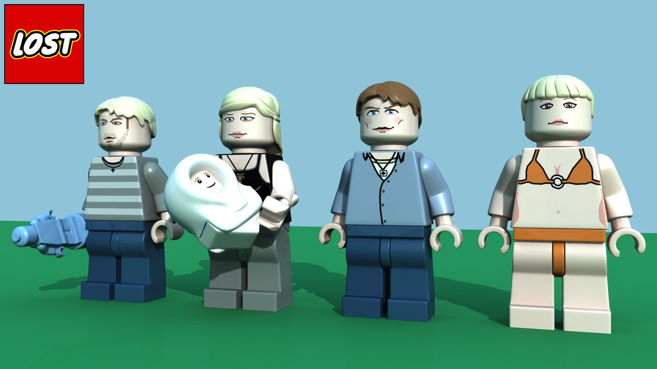3d model lego lost character pack