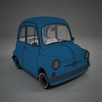 cartoon fiat 600 toon vray