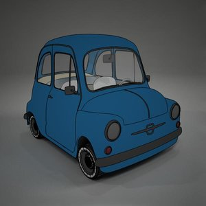 cartoon fiat 600 toon 3d model