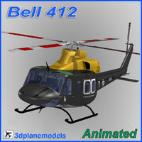 bell 412 helicopter animation 3d obj