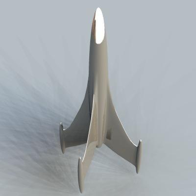 3d retro rocketship