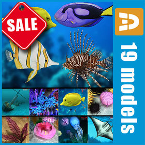 sea underwater fishes 3d 3ds