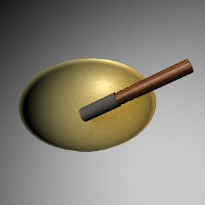 free tibetan singing bowl stick 3d model