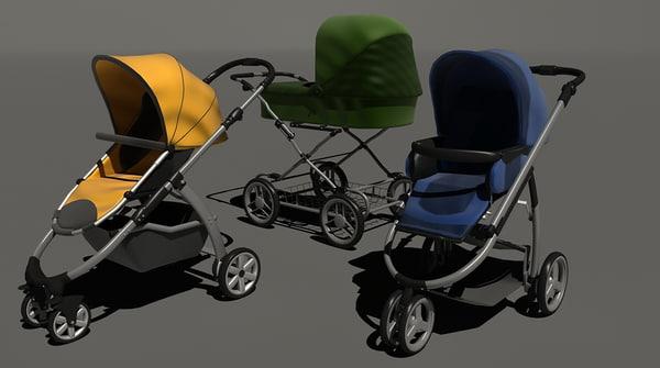prams babies set 3d model
