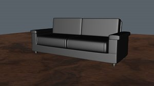 3d model leather sofa bed