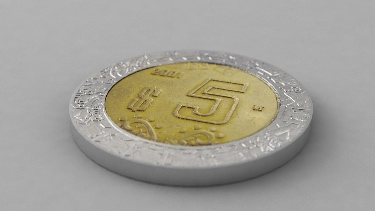 3d 5 pesos mexican coin