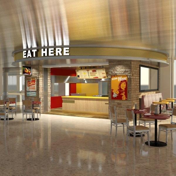 fast food kiosk shopping mall 3d max