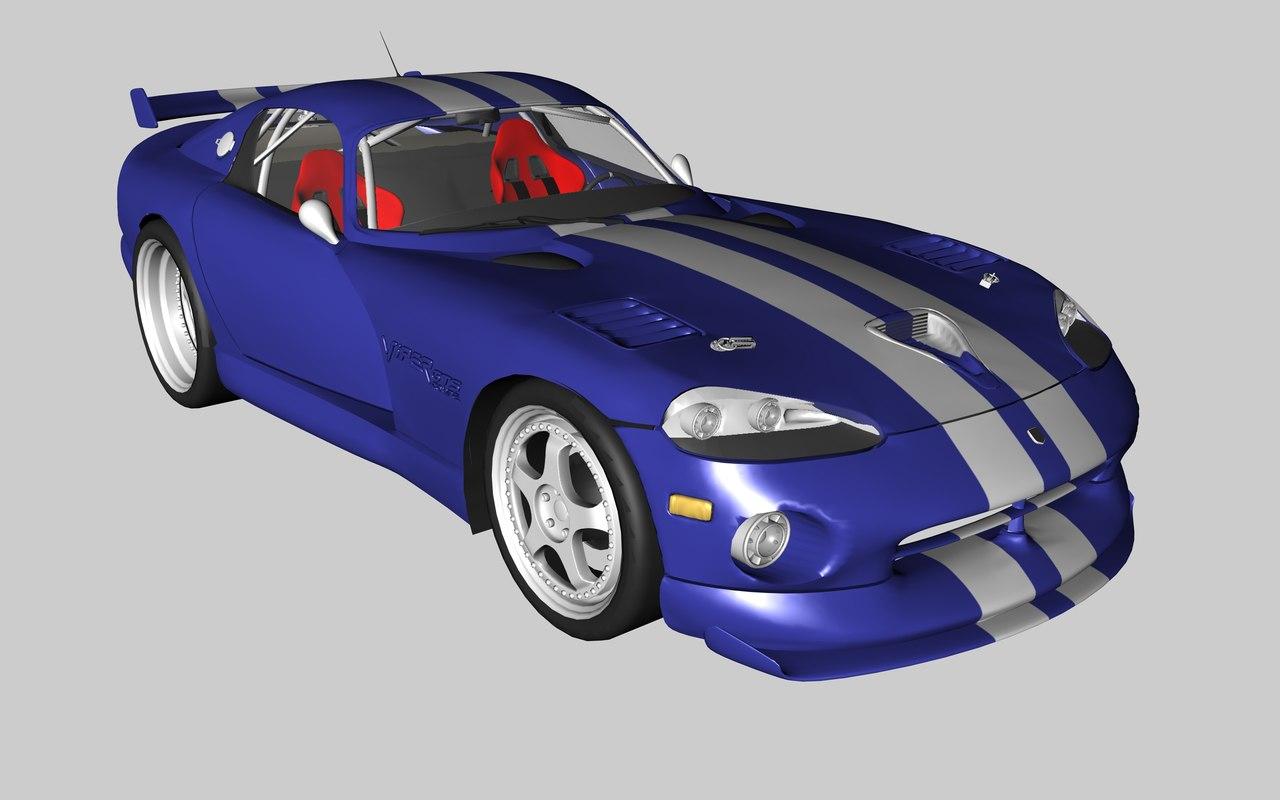 3d blue dodge viper gts