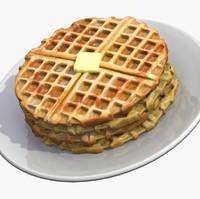 3d model waffle breakfast