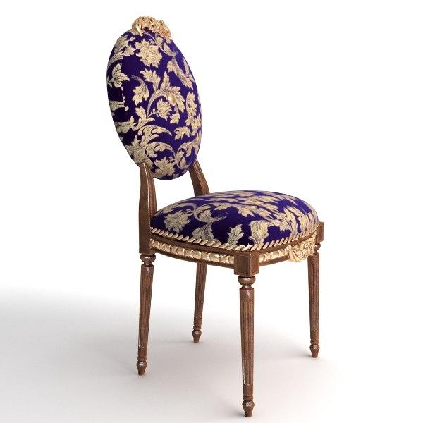 3d model antique armless chair