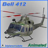 3d model bell 412 helicopter animation