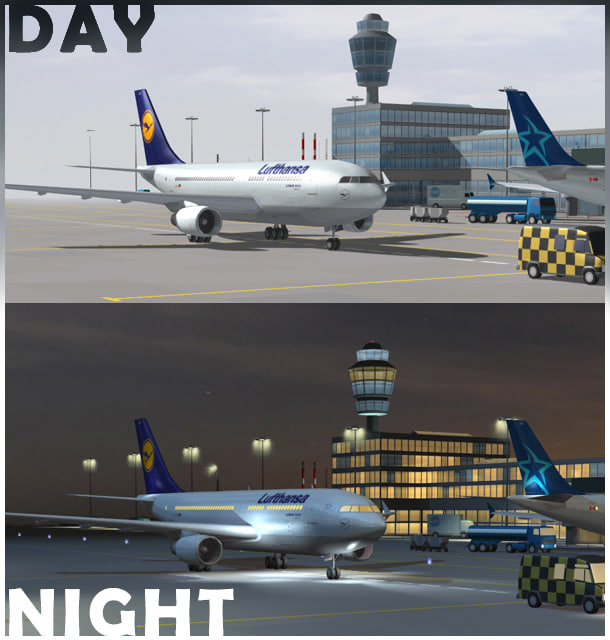 airport collections night day 3d max