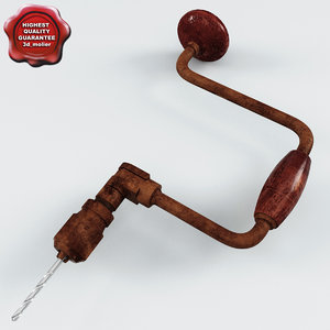 old hand drill 3d model