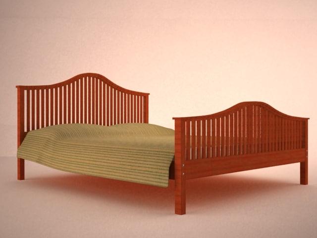 frame wood bed 3d model