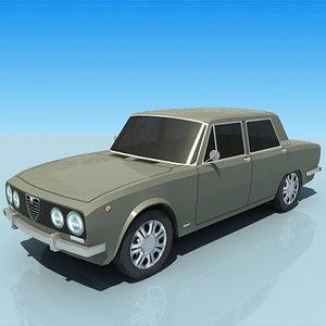low-poly alfa romeo berlina 3d model