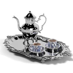 luzury silver teapot 3d model